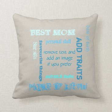 Personalized best MOM Mother's Day wordcloud Throw Pillow