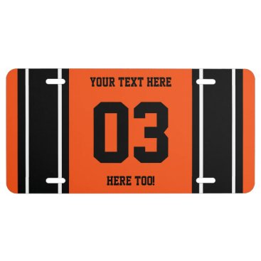 Personalized Black and Orange Sports Stripes License Plate