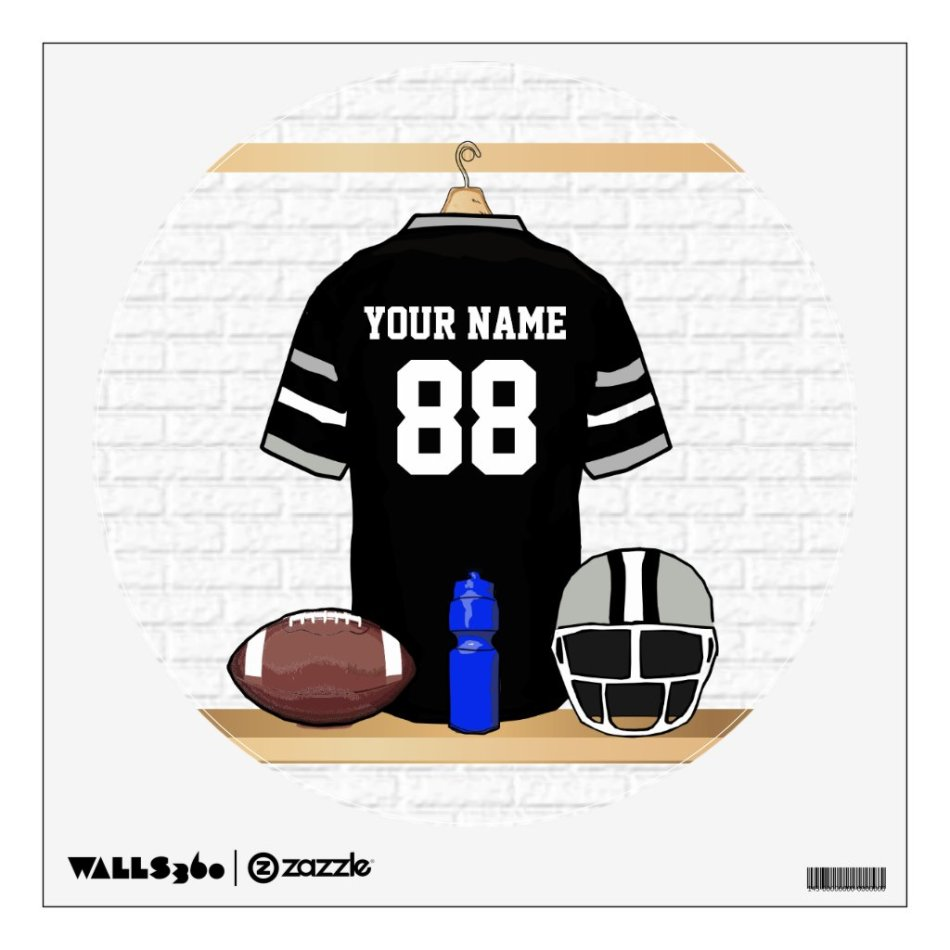 Personalized Black and Silver Gray Football Jersey Wall Decal