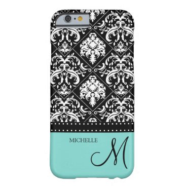 Personalized Black and White damask with teal blue Barely There iPhone 6 Case