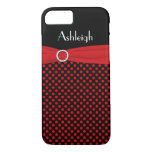Personalized Black, Red Polka Dot iPhone 7 Case