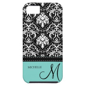 Personalized black & white damask with teal blue iPhone SE/5/5s case