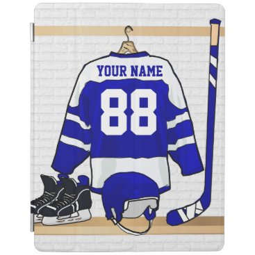 Personalized Blue and White Ice Hockey Jersey iPad Smart Cover