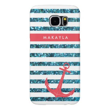Personalized Blue Glitter Stripes with Pink Anchor Samsung Galaxy S6 Case