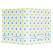 Personalized Blue & Yellow Polka Dot Binder