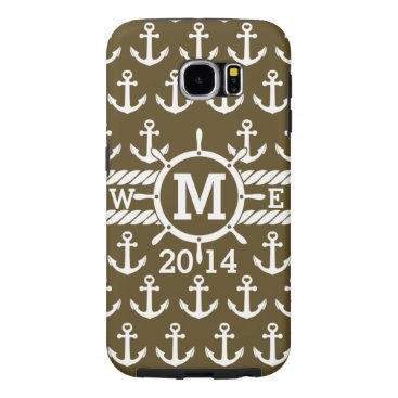 Personalized Brown Nautical Anchors Pattern Samsung Galaxy S6 Case