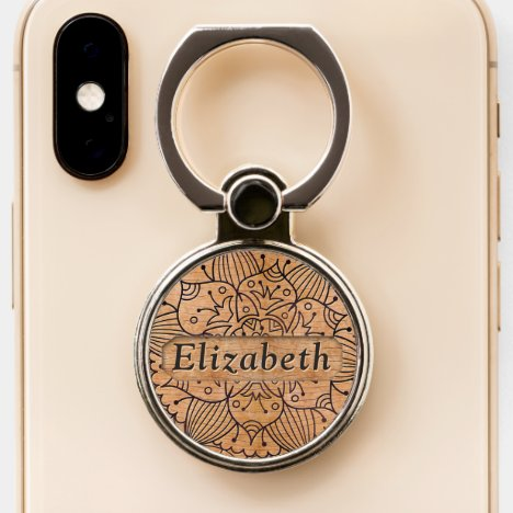 Personalized Carved Wood Floral Mandala Phone Ring Stand