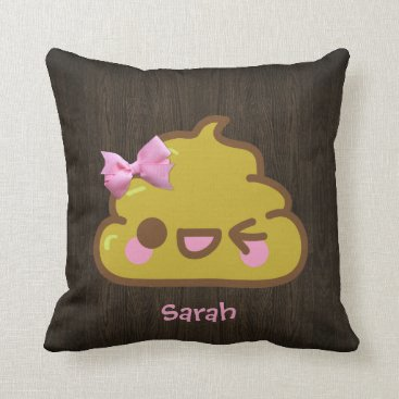 Personalized Cutey Poo with Pink Bow Throw Pillow