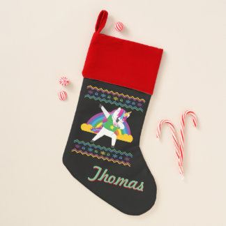 Personalized Dabbing Unicorn Ugly Xmas Sweater Christmas Stocking