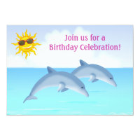 Personalized Dolphins Girls Birthday Invitation