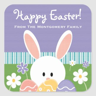 Personalized Easter Bunny Eggs Label Stickers