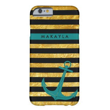 Personalized Gold Glitter Stripes with Teal Anchor Barely There iPhone 6 Case