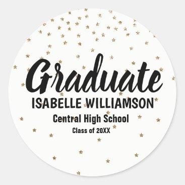 Personalized Graduation Sticker,  Tiny Gold Stars Classic Round Sticker