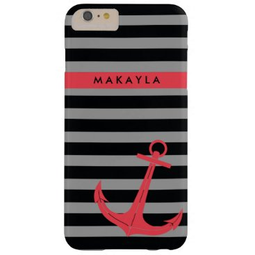 Personalized grey & black Stripes with Pink Anchor Barely There iPhone 6 Plus Case