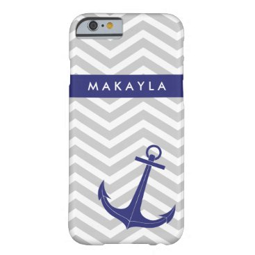"""Personalized Grey Chevron and """"navy blue"""" Anchor Barely There iPhone 6 Case"""