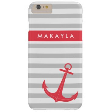Personalized Grey Stripes and Hot Pink Anchor Barely There iPhone 6 Plus Case