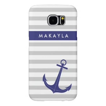 "Personalized Grey Stripes and ""navy blue"" Anchor Samsung Galaxy S6 Case"