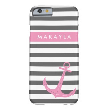 Personalized Grey Stripes and Pink Anchor Barely There iPhone 6 Case