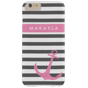 Personalized Grey Stripes and Pink Anchor Barely There iPhone 6 Plus Case
