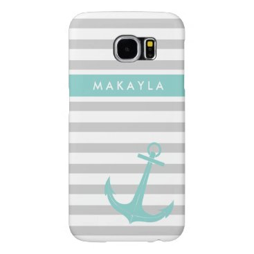 Personalized Grey Stripes and riptide blue Anchor Samsung Galaxy S6 Case