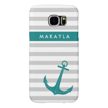 Personalized Grey Stripes and Teal Blue Anchor Samsung Galaxy S6 Case