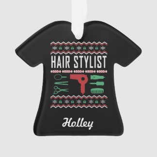Personalized Hair Stylist Ugly Christmas Sweater Ornament