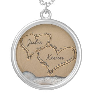 Personalized Hearts in the Sand Necklace