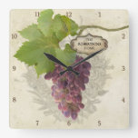 Personalized Home Rustic Grapes on Vine Vintage Square Wall Clock