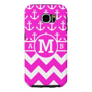 Personalized Hot Pink Nautical Anchors Pattern Samsung Galaxy S6 Case