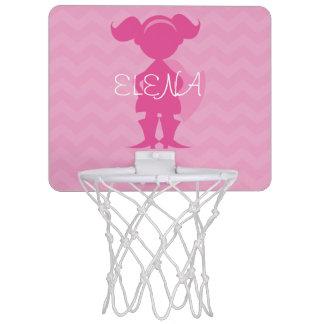 Personalized Kids Pink Superhero Silhouette Mini Basketball Hoop
