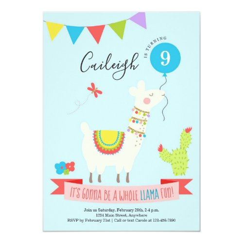 Personalized Llama Desert Themed Birthday Party Invitation