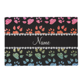 Personalized name bright rainbow glitter cat paws laminated placemat
