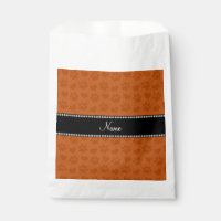 Personalized name burnt orange hearts and paw favor bag