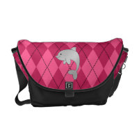 Personalized name dolphin pink argyle messenger bag