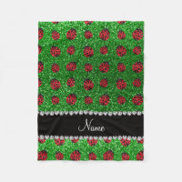 Personalized name green glitter ladybug fleece blanket