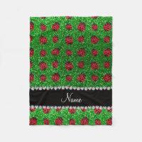 Personalized name green glitter ladybug fleece blanket
