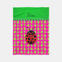 Personalized name ladybug pink green trees fleece blanket