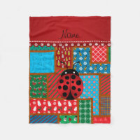 Personalized name ladybug ugly christmas sweater fleece blanket