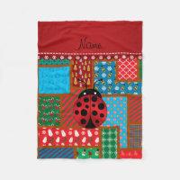 Personalized name ladybug ugly christmas sweater fleece blanket