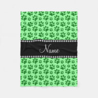 Personalized name light green dog paw prints fleece blanket