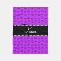 Personalized name neon purple hearts and paw print fleece blanket