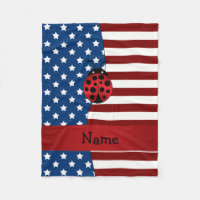 Personalized name Patriotic ladybug Fleece Blanket