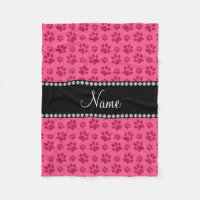 Personalized name pink dog paw prints fleece blanket