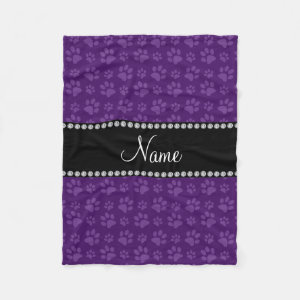 Personalized name purple dog paw prints fleece blanket