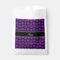 Personalized name purple hearts and paw prints favor bag
