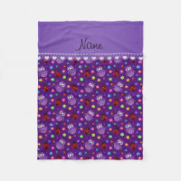 Personalized name purple owls flowers ladybugs fleece blanket