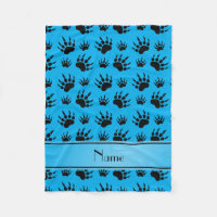 Personalized name sky blue bear paw prints fleece blanket