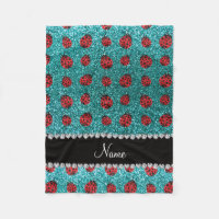 Personalized name turquoise glitter ladybug fleece blanket