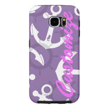 Personalized Nautical Patriotic Anchors Pattern Samsung Galaxy S6 Case