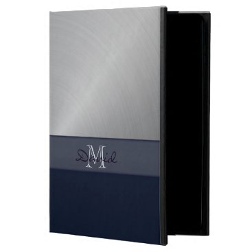 Personalized Navy Brushed Metal iPad Air 2 Case
